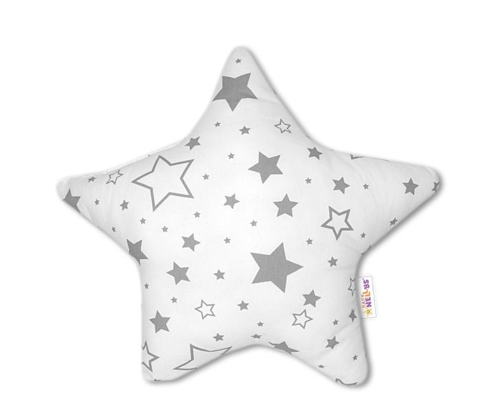 0a598c13d50f Baby Nellys Hvězdička - dekorační polštářek - šedé hvězdy a hvězdičky