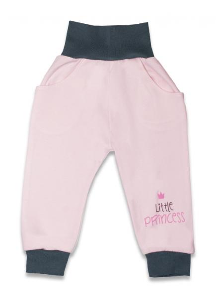 Bavlněné tepláčky, Malá princezna - růžové, vel. - 68 - 68 (4-6m)