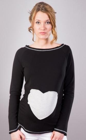 ec6ccb923bb5 Be MaaMaa. Těhotenské triko halenka SRDCE dl. rukáv - černé - XS L
