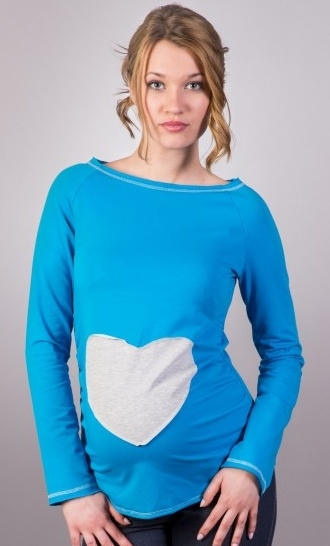 faf6438cb4be Be MaaMaa. Těhotenské triko halenka SRDCE dl. rukáv - modré - XS L