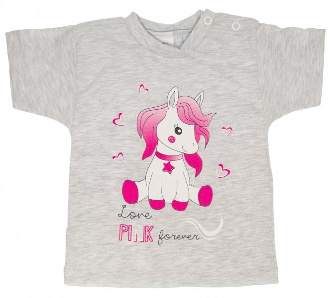 7fe2afc40325 MBaby Bavlněné tričko - vel. 74 - Pony - šedé - 74 (6-